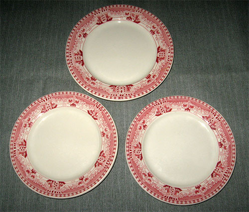 Three (3) restaurant ware plates from Buffalo China (Buffalo Pottery) in a pattern called \ Vienna\  (red or dark pink). They are heavy very solid pieces ... & George\u0027s Vintage Pottery - Dinnerware